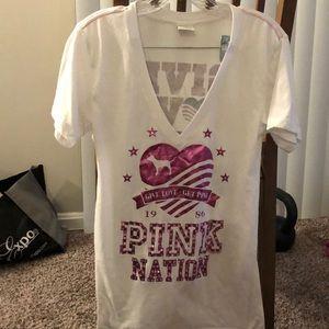 Victoria's Secret pink nation shirt v neck